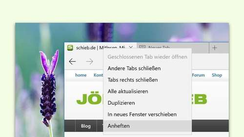 Browser-Tipp: Tabs in Edge anheften