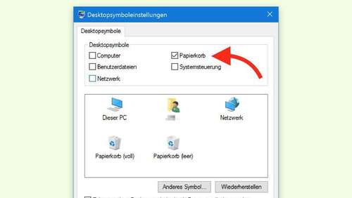Windows 10: Papierkorb-Symbol auf dem Desktop zeigen
